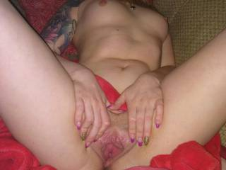 Just me playing with my pussy a bit and spreading her wide open.