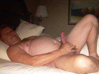 Jacking off for the wife while she takes pics.