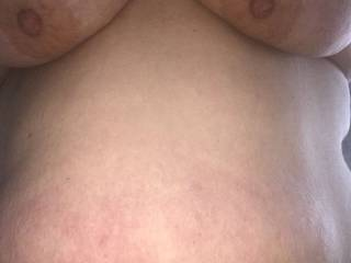 She loves cum all over her fat belly