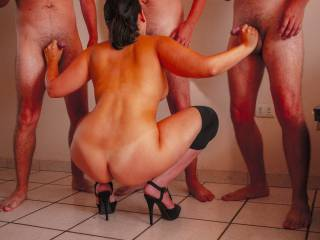 Tanned group blowjob