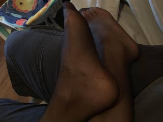Another pic of my wife's feet in pantyhose