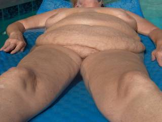 Nothing strange about this picture.  Me in our pool, as always, naked.