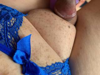 Love to play with my cock in crotchless panties.  This is his fav toy.