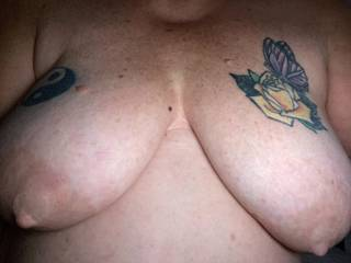 Pets nipples all pumped up and ready for some hot suckling and tugs...wanna come soak them down good for her or bite and nibble them good and hard?