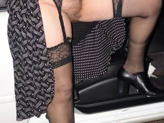 Wife flashing for the camera while out and about