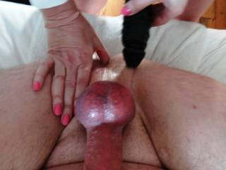 Maybe I should be behind the mrs with my cock in her or maybe where she is with it pressing up against your rim