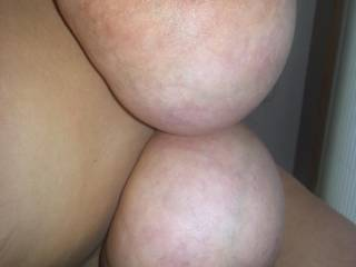This is how her big saggy tits look hanging in my face
