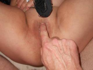 mmmm her pussy was so sweet and loved when she soaked me , I was lucky hubby let me play with her, I would love to touch your button and suck on it as well