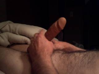 my wife likes to watch endowed men masturbate, but thats second only to having them use their large cock for her personal pleasure..