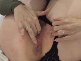 Feeling horny and teasing me with her pussy before I slide into that sweet wet pussy