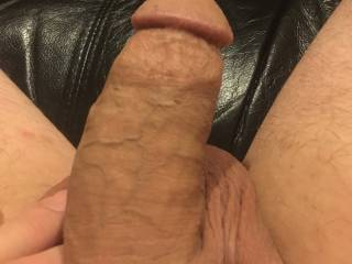Showing it off to the Mrs.  She is gonna rub it, lick it, suck it & Make me very hard before I slip it into her hot, wet, tiny pink pussy!!  She is so good to me!!