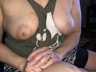 She loves showing off those bad boys!! Look at those nipples!! They are sooo soft and delicious!!