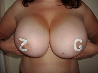 I love them - such massive mammaries! Let's see some cum on them soon!