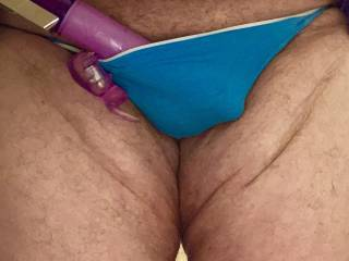 Just finished fucking myself with a rabbit vibrator then slipped into a pair of sexy thong girlie panties
