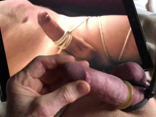 Love watching her tie up his cock and then stroke and suck him.
