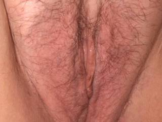 Close up of the wife's tight wet pussy.