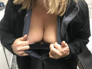 before going to work..she say\'s see if anyone wants to cum on the girls this weekend