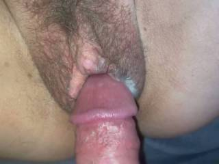 Rubbing my cock in her used pussy full of cum
