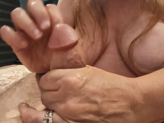 Sloooowly taking care of a cock to get maximum cum out of it. Mmm... I do love cum all over my hands. What a wonderful thing.