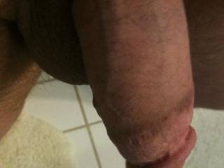 A nice up close and personal view of my semi hard cock.