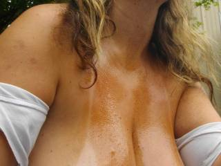 Your boobs looks awesome oiled up...  I would love to slip and slide in them..