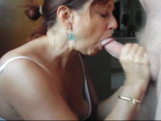 Candi Annie milks Al\'s cock and gets a mouth full of man juice which she swallows every drop!