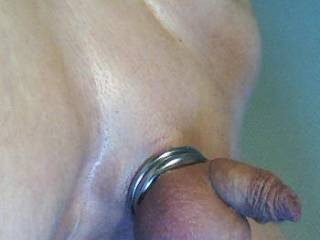 Smooth shaved with tight cock-rings
