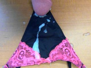 My warm cum all over my GF's new black panties!
