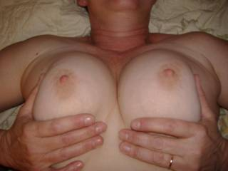 Those are a great pair of tits. They would look perfect wrapped around my hard cock