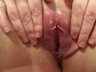 Holding her beautiful pussy open before I fuck her - who'd like to enter her delicious wetness?