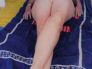 In the beach tent, at a local nude beach.