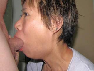 WOW!!! ... fantastic pic, and I love her cock sucking lips! All time favorite.