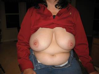 those are some nice tits. I'd love to fondle em while she eats out my wife's pussy