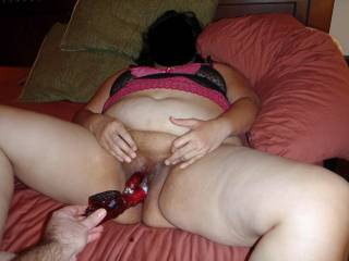 Hubby fucking my wet, hungry pussy with my Rabbit!  Good hubby...hehehe!