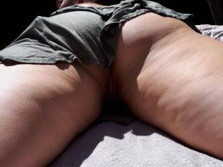 sunbathing with pussie and ass showing