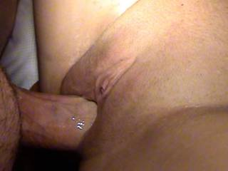 My cum deep in Melissa's amazing pussy coats my cock as I pull out