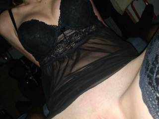 My GF's pussy filled with cum wearing stockings and a hot underwear
