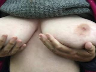 Three of yesterday\'s videos joined ... 1 - cupping tits underneath (called a \'hand bra\' I think) 2 - first jiggling then squeezing 3 - first squeezing then letting go and pulling her top down and tucking it in