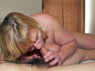 Mature BBW friend giving me a blowjob. She just couldn\'t stop.