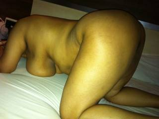 my pride, my sexy mature wife on all fours.