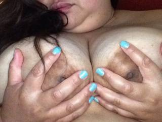 Look at this big tits and nipples....Can I suck on them then fuck you
