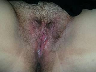 I'd love to deep fuck your hairy pussy. Nice cream and you look so deliciously wet.