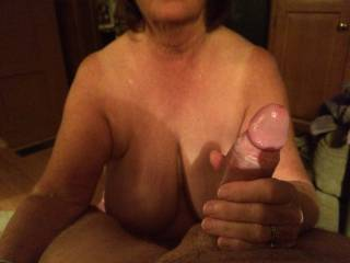 Your lovely lady looks quite the expert. Love her lovely tits. Thx.