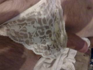 You like me wearing your wife knickers u sent me hope you enjoy my cock in wife's knickers