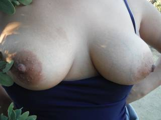 outdoor hiking with tits out!