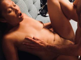 After tasting his big tool and having her warm pussy licked and probed by a few fingers, she just couldn\'t wait for his hard rock cock!