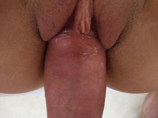close up of my cock entering the GF\'s shaven pussy