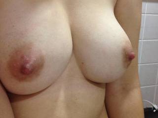 Would love to slip my hard cock between your lovely tits and cover you nice hard nipples with my cum.