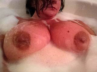Bathe with you I shall. We can wash each other's bodies. Maybe even wash deep inside your pussy with my handy utensil too.