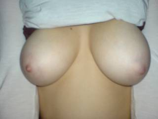 good sized tits and shapely, your nipples need lots of sucking to make them protrude.